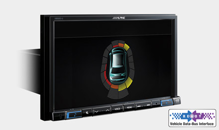 The Interface APF-X300VW retains visual representation of Parking Sensors